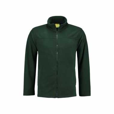 Donkergroen fleece vest met rits voor volwassenen
