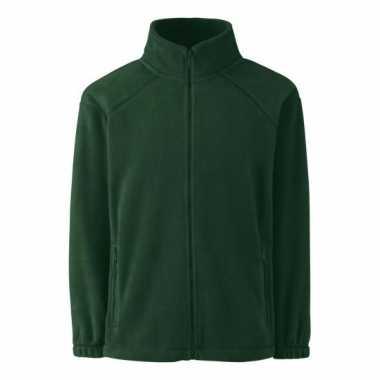 Donkergroen fleece vest voor jongens