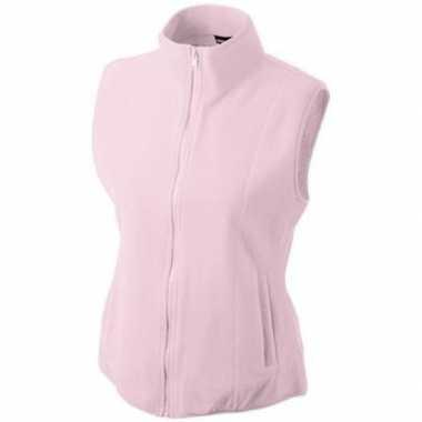 Fleece outdoor bodywarmer licht roze voor dames