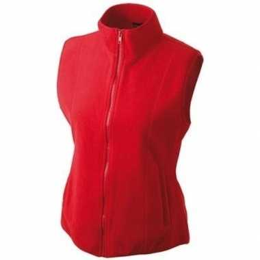 Fleece outdoor bodywarmer rood voor dames