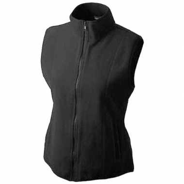 Fleece outdoor bodywarmer zwart voor dames
