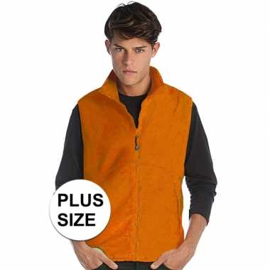 Grote maten fleece outdoor bodywarmer oranje voor heren