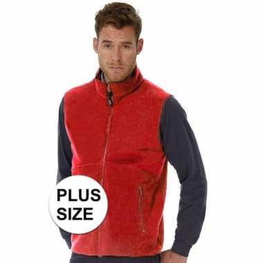 Grote maten fleece outdoor bodywarmer rood voor heren
