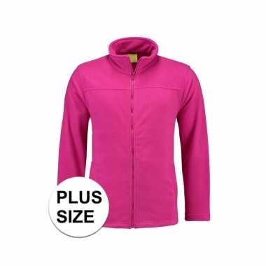 Grote maten fuchsia fleece vest met rits voor dames