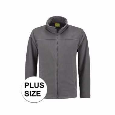 Grote maten grijs fleece vest met rits voor volwassenen