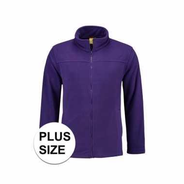 Grote maten paars fleece vest met rits voor dames