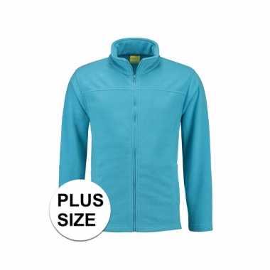 Grote maten turquoise fleece vest met rits voor volwassenen