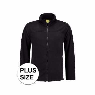 Grote maten zwart fleece vest met rits voor volwassenen