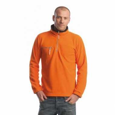 Oranje met zwarte fleece vest voor volwassenen